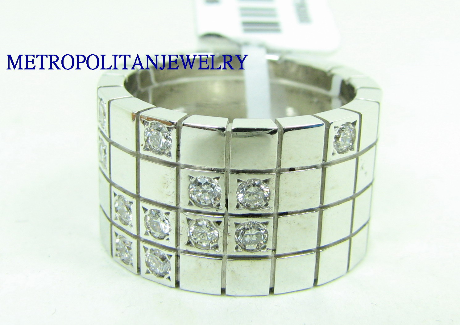 HEAVY 18K WHITE GOLD DIAMOND RING BAND CARTIER LANIERS